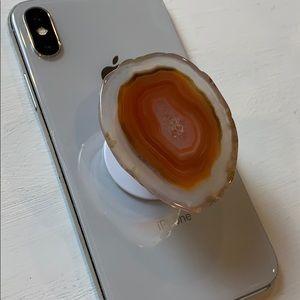 Natura stone agate (orange) pop stand